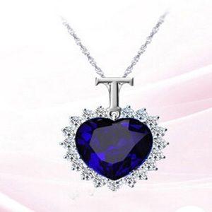 Jewelry - Titanic Heart Blue Sapphire Chain Necklace